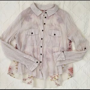 Free People Tan Striped Floral Top (S)